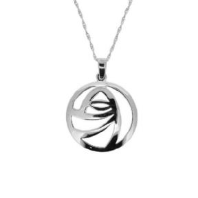 Mackintosh Glasgow Rose Round Silver Pendant Large 1056